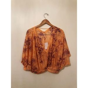 Free people orange floral crop blouse gypsy top